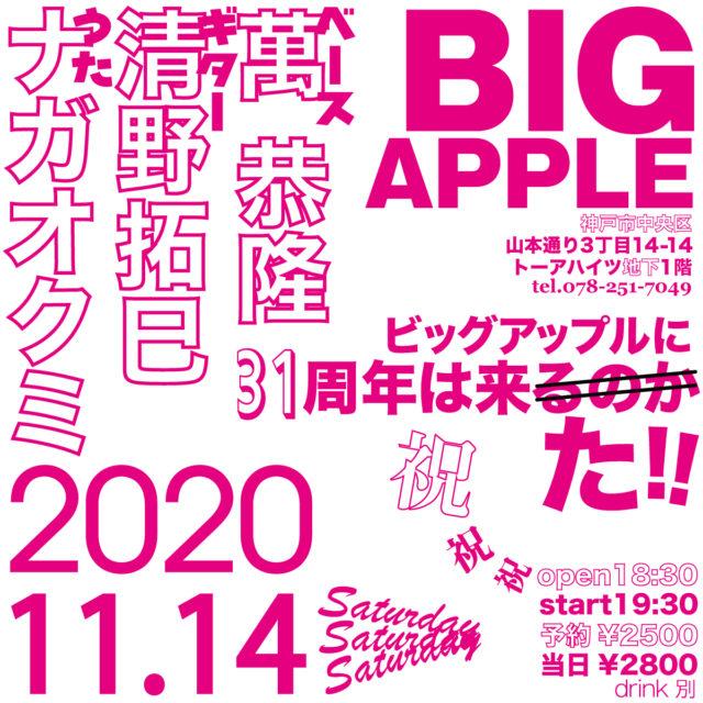 2020/11/14(土)gt.清野拓巳b.萬恭隆vo.ナガオクミ